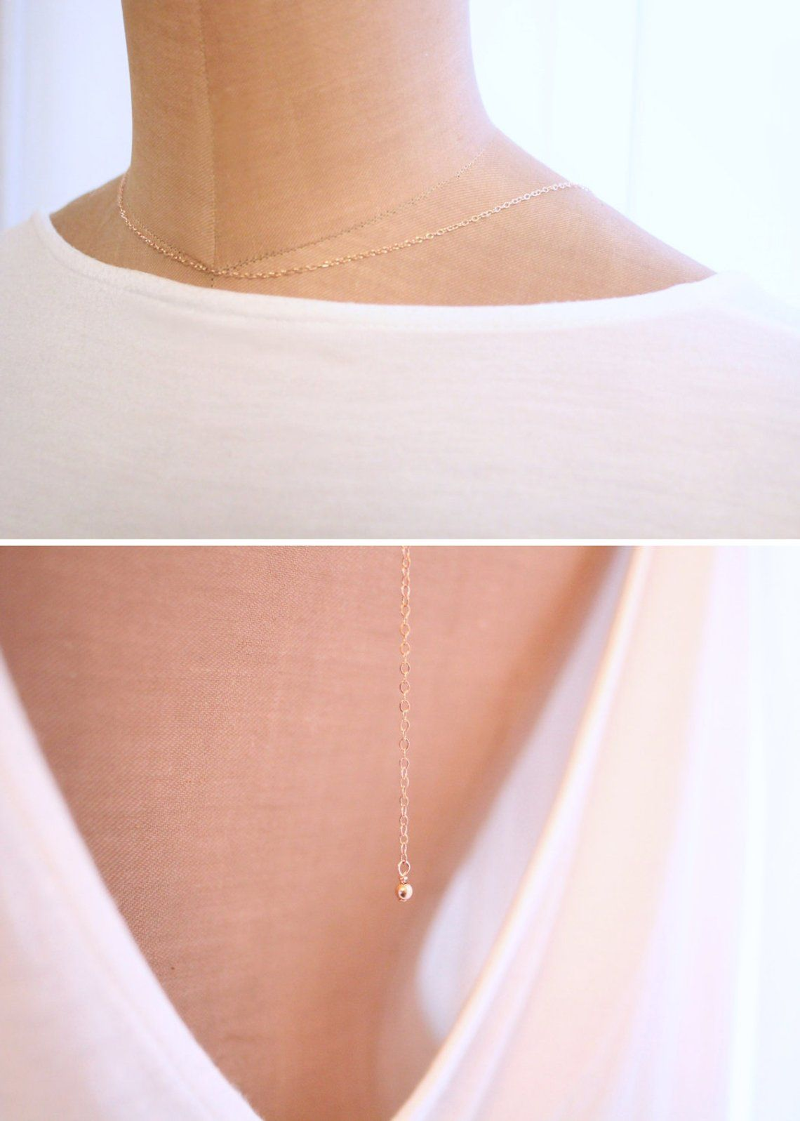Minimal Backdrop Necklace Simple Back Necklace Dainty