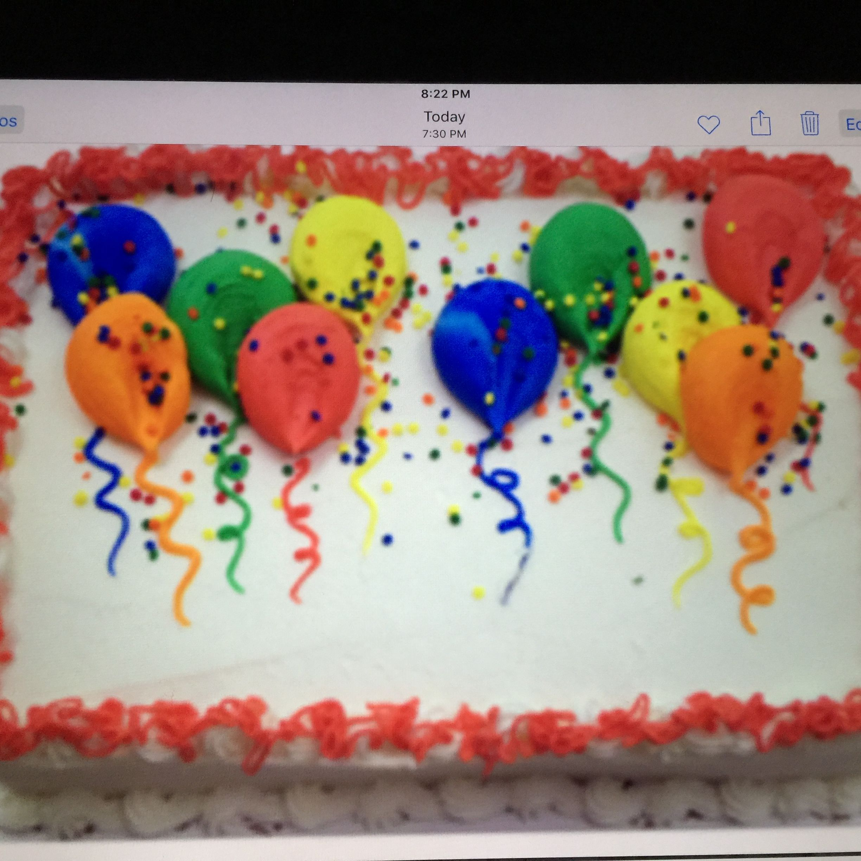 Balloon Birthday Sheet Cake In Buttercream