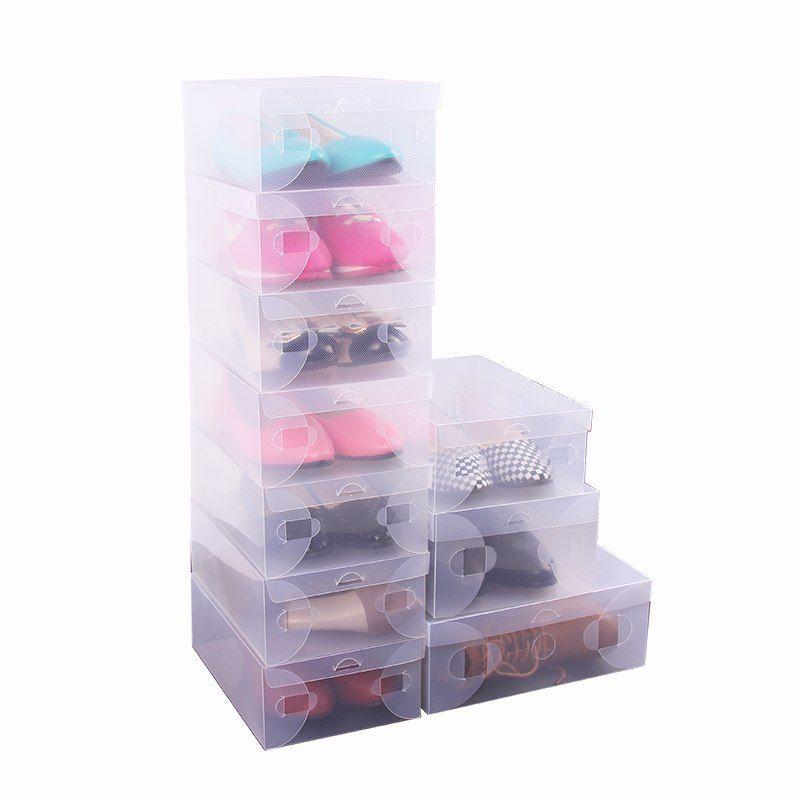10x Transparent Clear Plastic Shoe Boxes Stackable Foldable