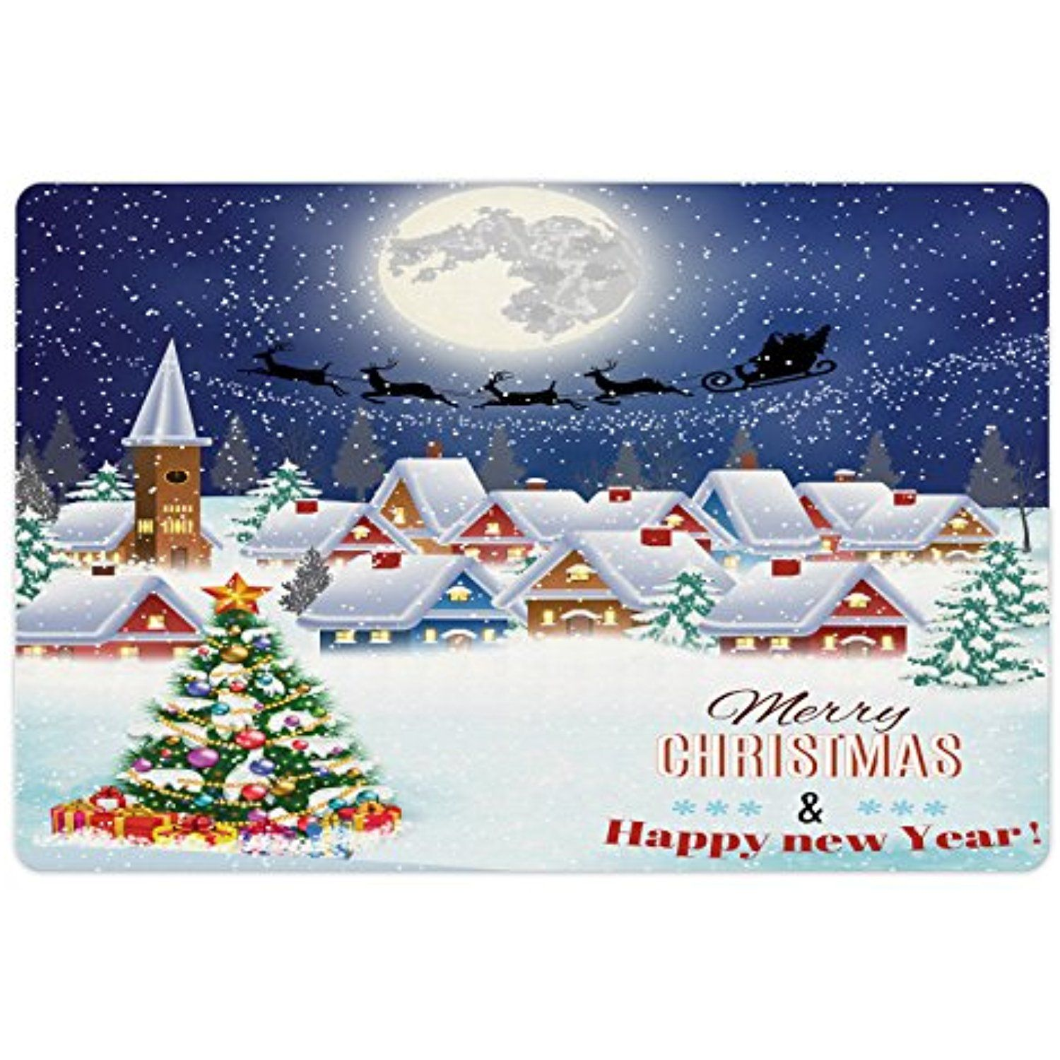 Christmas Pet Mats for Food and Water by Ambesonne, Moon