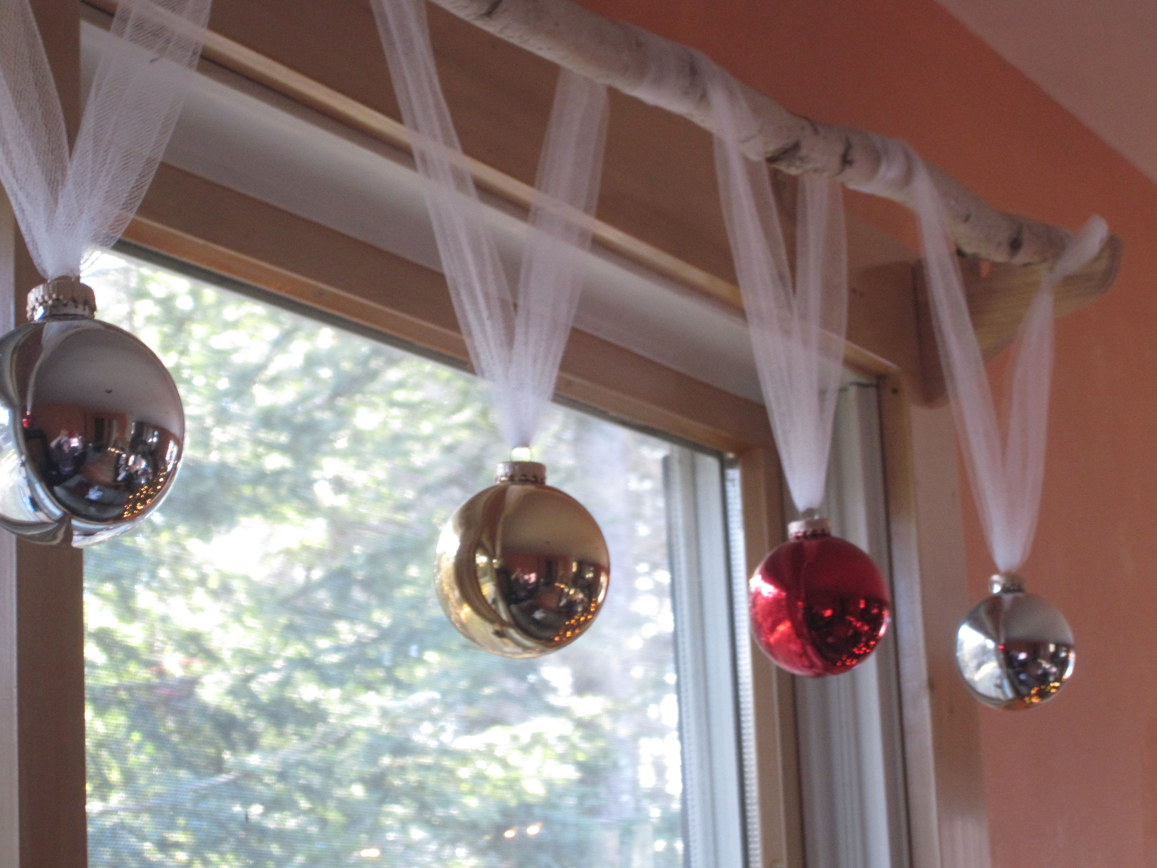 diy holiday window treatment tulle birch branch cheap christmas balls holiday how 2s. Black Bedroom Furniture Sets. Home Design Ideas
