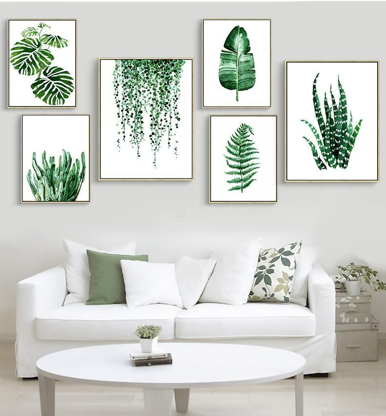 Wall Art Modern Green Tropical Plant Leaves Canvas A 64 With