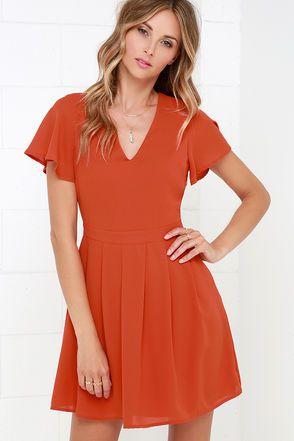 Rust Orange Dress - V Neck Dress - Short Sleeve Dress - $78.00