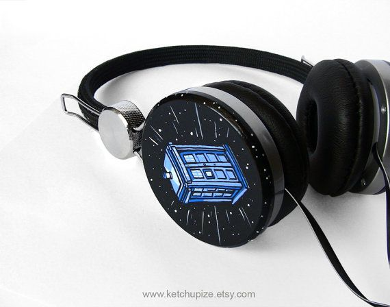 SHUTUP. I WANT THESE.    SOMEONE BUY THEM FOR ME.    Doctor Who Custom headphones earphones hand painted  by ketchupize, €50.00