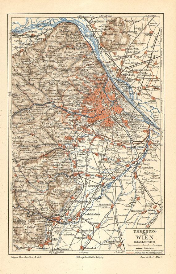 1905 Original Antique Map of Vienna and its by CabinetOfTreasures