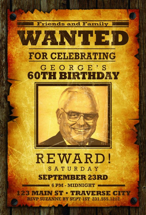 Wanted Birthday Invitation - Western Cowboy Wanted Poster Adult ...