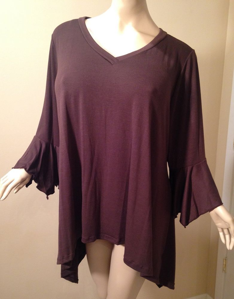 Yummy Plus Size 4x 5x 6x Brown Tunic With Bell Sleeves Nwt
