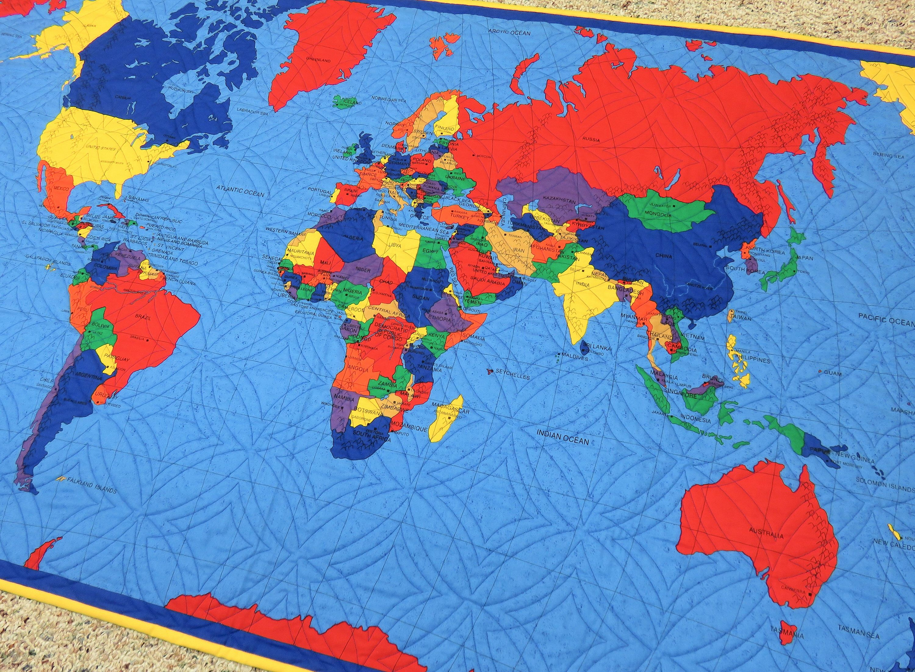 World Map For Sale Handmade Wall Hanging for Sale, World Map, Map of the World, Kids