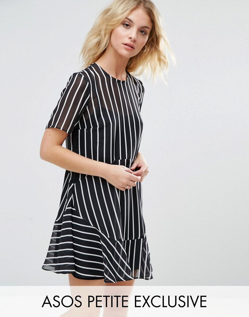 80d40c11f Buy it now. ASOS PETITE Mono Stripe Tea Dress - Black. Petite dress ...