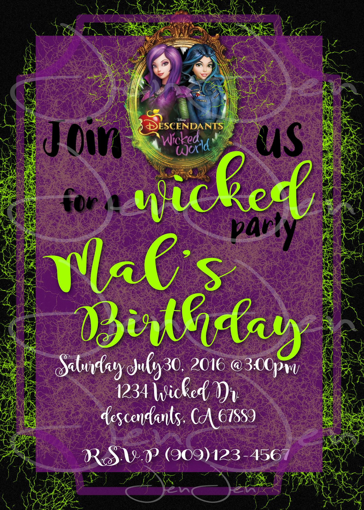 disney descendants party invitation