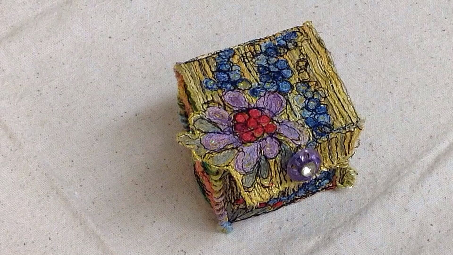 Threadpainted treasure box stitched onto netting by Terry White. Watch the tutorials on YouTube   https://m.youtube.com/watch?v=HwCj2TGeQzk
