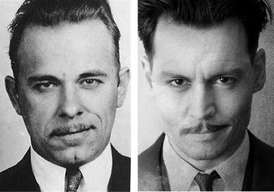 John Dillinger by Johnny Depp  Great movie !  Johnny Drop just looks too much like Dillinger!