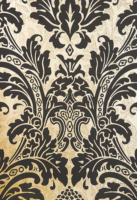 Blake Damask Wallpaper Powder Bath Tapetes Arabesco