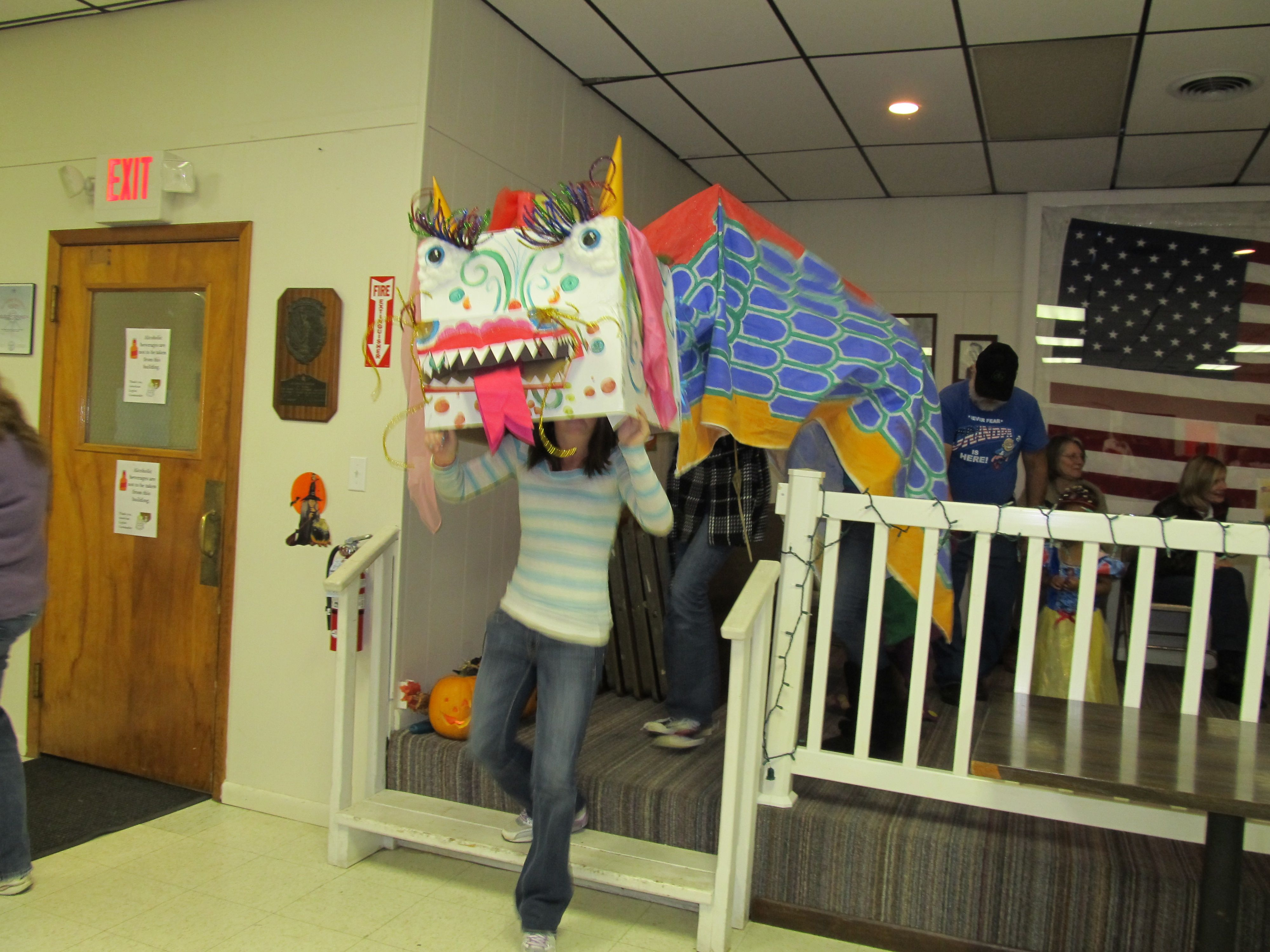 Chinese Dragon Costume  Made Out Of A Box, Paint, Pipe Cleaners And A