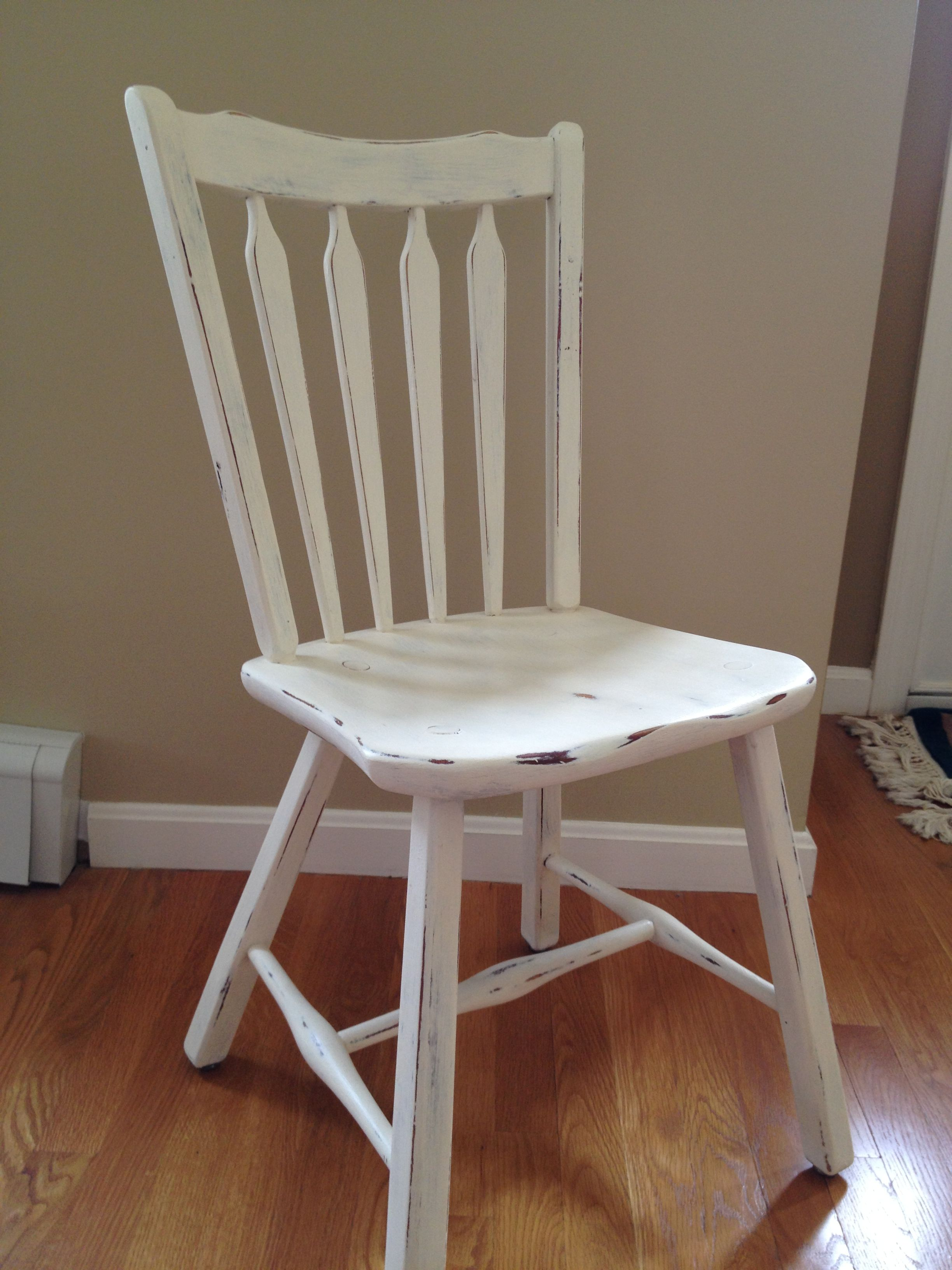 Desk Chair Painted With Annie Sloan Chalk Paint Old White Distressed Cottage Furniture Furniture Chair