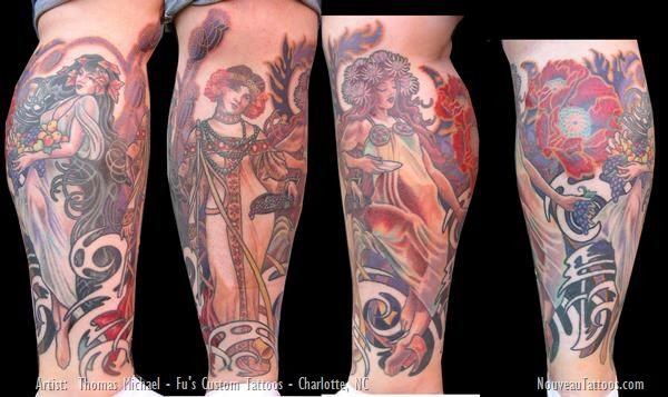 Leg Sleeve Alphonse Mucha Art Nouveau Tattoo Tat Ink Tatoo