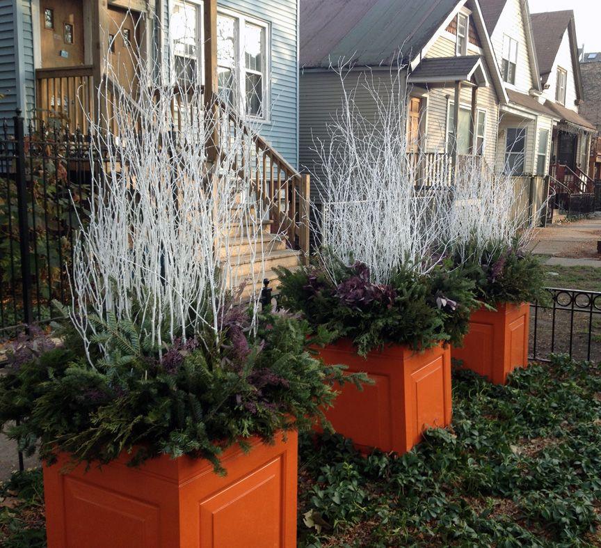 20 Winter Garden Design Ideas: Winter, Decor, White Birch Sticks, Evergreens, Containers