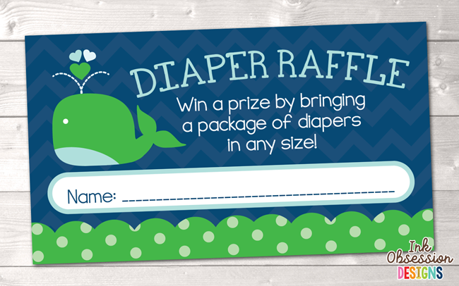 Little Squirt Green Whale Printable Diaper Raffle Ticket  Instant