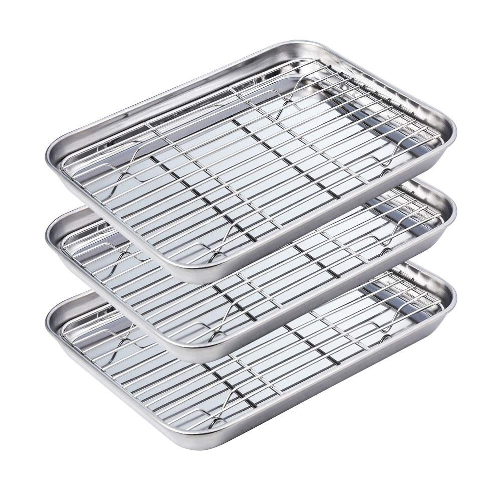Stainless Steel Baking Sheets With Cooling Racks Cookie Sheet And Wire Rack Set Of 3 Rectangle Size 10 3 8 X 8 1 1 Cooking Sheet Dishwasher Safe Cooling Racks