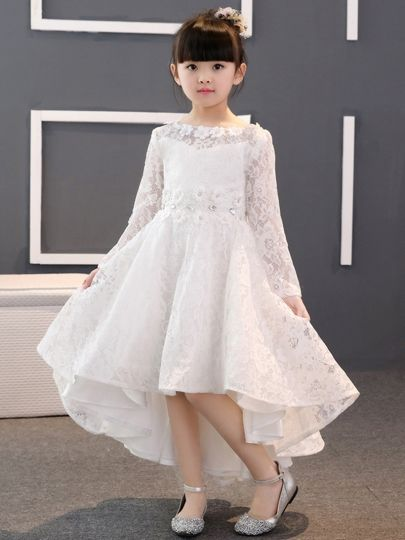 aca7fac5a22 Lace Asymmetrical Girl Party Dress with Long Sleeves   cheap Flower Girl  Dresses