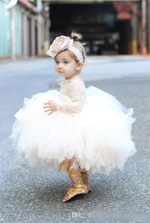 18aff1d29 Baby Infant Toddler Pageant Clothes flower girl dress, long sleeve lace  tutu dress, ivory and champagne flower girl dress wedding dresses