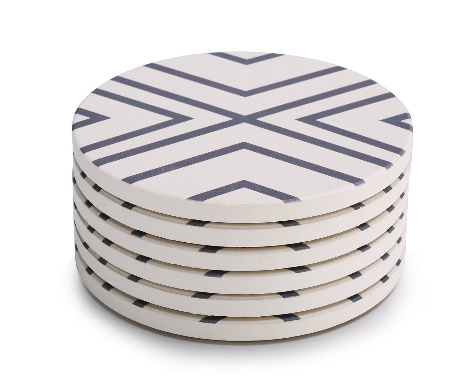 "Amazon.com | Lifver 6-Piece Absorbent Stone Coaster set, ""drink"" spills coasters, Grey-Lines: Coasters"