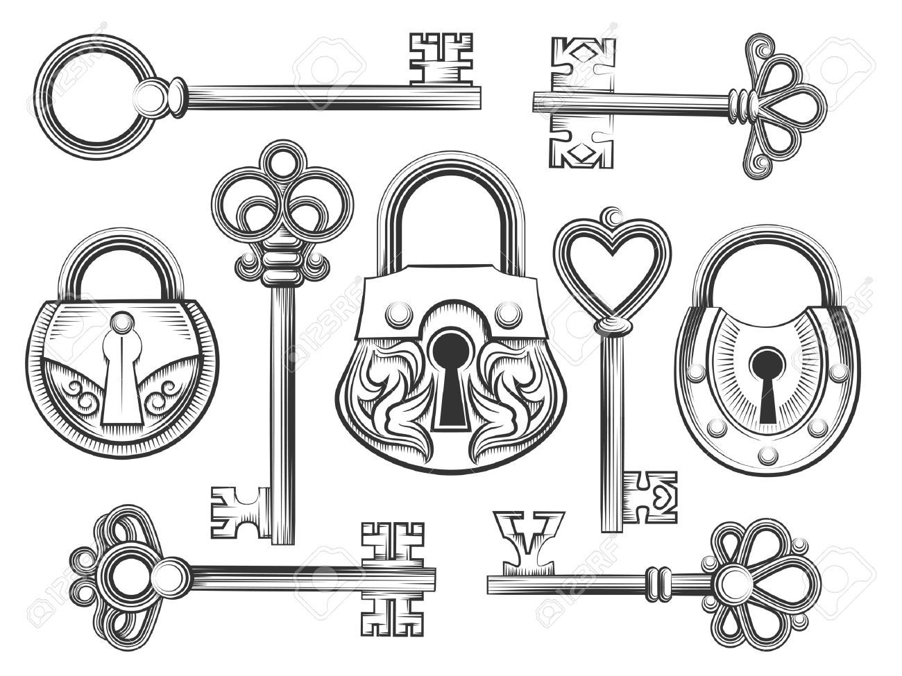 Hand Drawn Vintage Key And Lock Vector Set