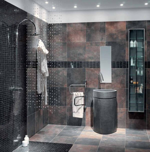 33 Black Slate Bathroom Floor Tiles Ideas And Pictures Spa Bathroom Design Bathroom Interior Design Bathroom Design
