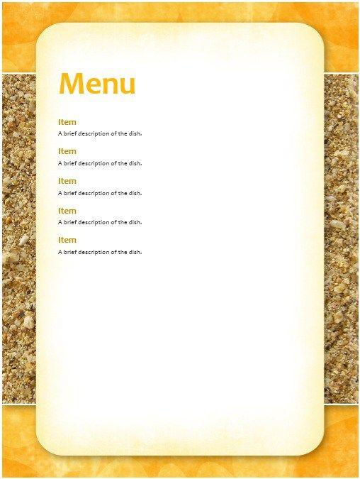 Breakfast Menu Template Stationary Templates Pinterest Resume