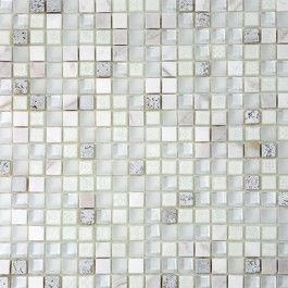 Shop 12 X 12 Alloy Deco Blizzard Polish Frosted Painted Foil Stone And Glass Tile In White Painted Silver Foil Glass Mosaic Tiles Glass Tile Mosaic Glass