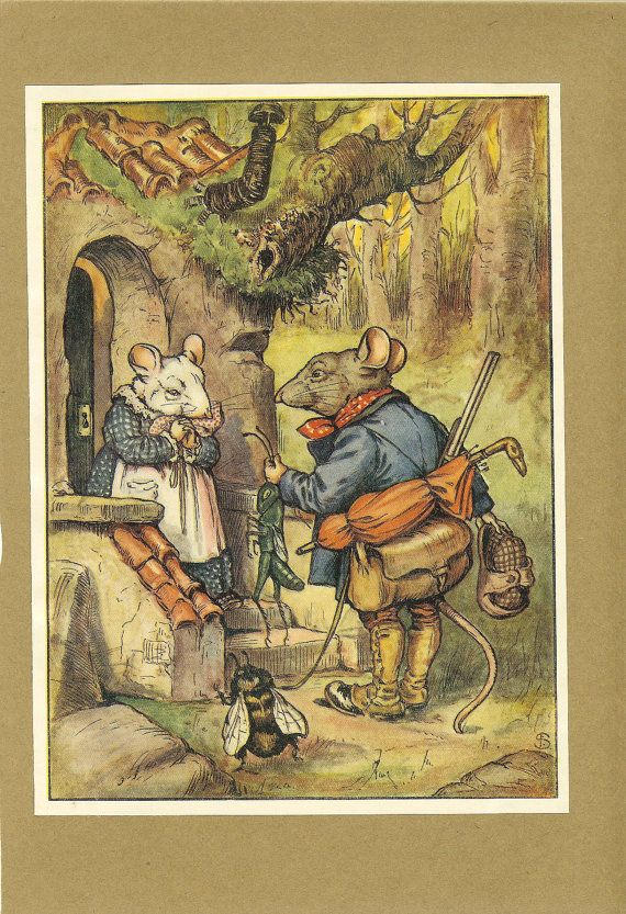 1922 Vintage Children's Print Dapper Grey Mouse Offers  Female White Mouse Gift Grasshopper Treehouse Door Book Plate Book Illustration