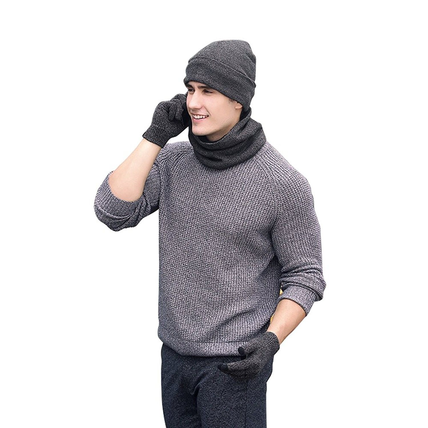 bb8fc195678 Winter Knitted Hat Scarf Gloves Three Sets for Men and Women-3 ...