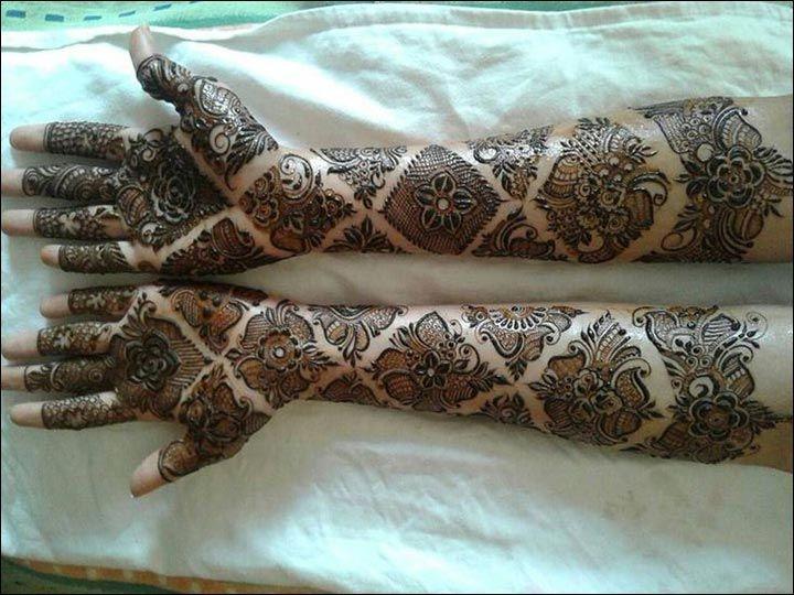 Mehndi Diya Design : Traditional rajasthani bridal henna mehndi design full hand