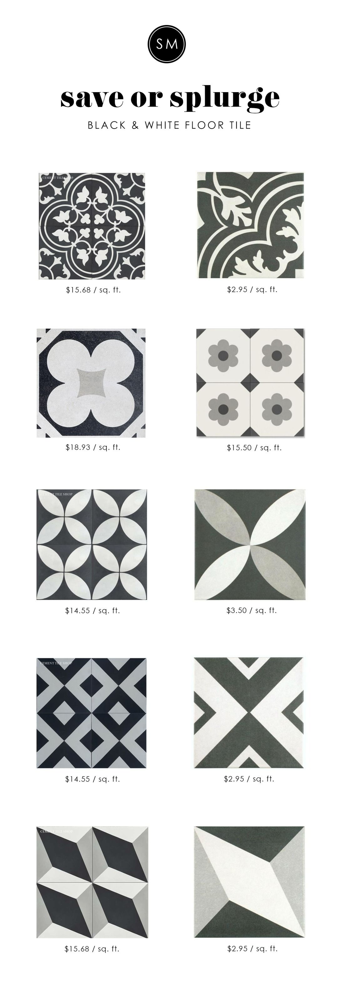 Save or Splurge: Black & White Floor Tile | Black, Bath and Laundry