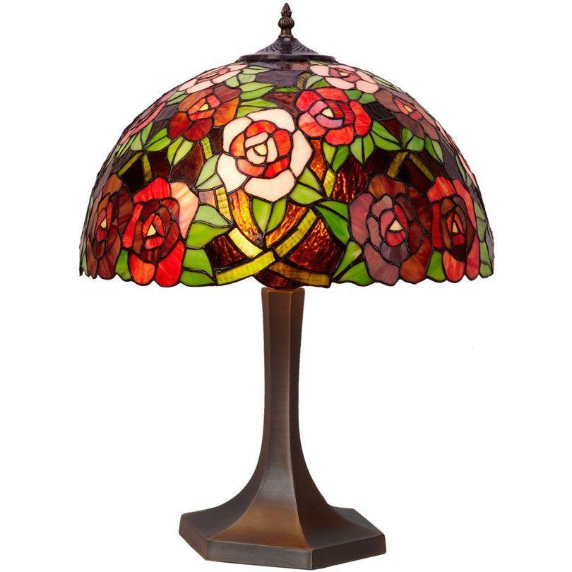 Medianalámparas Mesa Floral Lámpara de Tiffany Rosas JlK1Fc