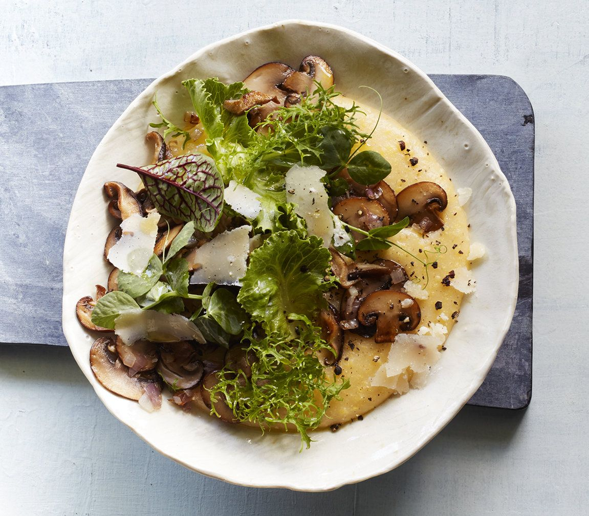 Main Courses Side Dishes: Creamy Polenta With Mushrooms And Baby Greens