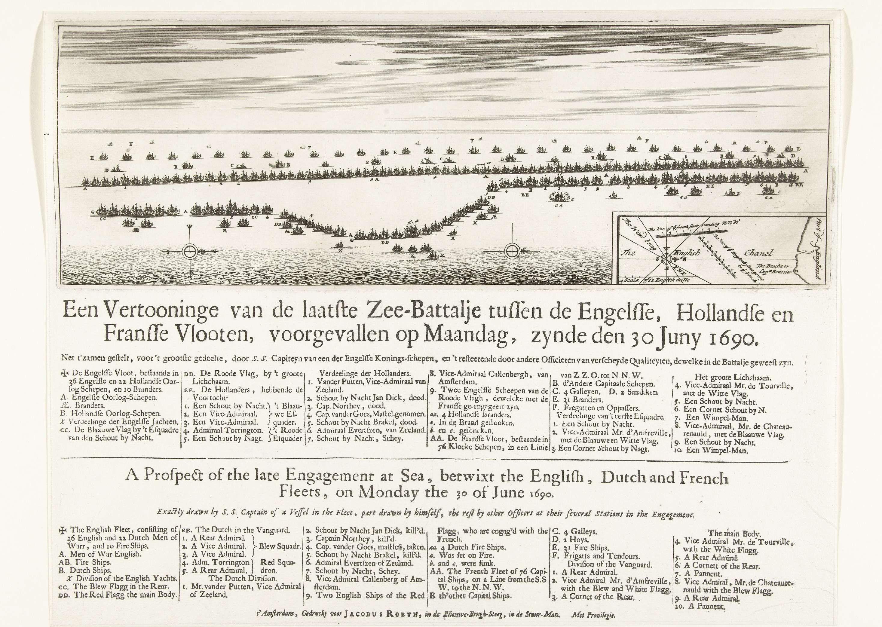 Anonymous | Zeeslag bij Beachy Head, 1690, Anonymous, Jacobus Robijn, unknown, 1690 | Zeeslag bij Beachy Head (bij Béveziers) waarbij een gecombineerd Engelse en Nederlandse vloot verslagen wordt door de Fransen, 10 juli 1690. Voorstelling van de slagorde van de vloten vóór de slag, met inzet met kaartje van de locatie van de slag in het Kanaal. Met legenda's in het Nederlands en Engels.