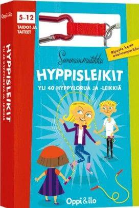 Oppi ja Ilo Hyppisleikit on mainio lahja pikkulapselle! Pakassa on ohjeita pitkälle ja lyhyelle hyppynarulle, yksin tai yhdessä hyppimiseen. Oppi ja Ilo / lastenverkkokauppa.fi