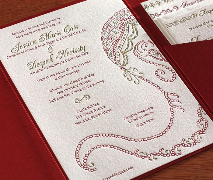 Baraat Letterpress Wedding Invitation Card Hand Drawn