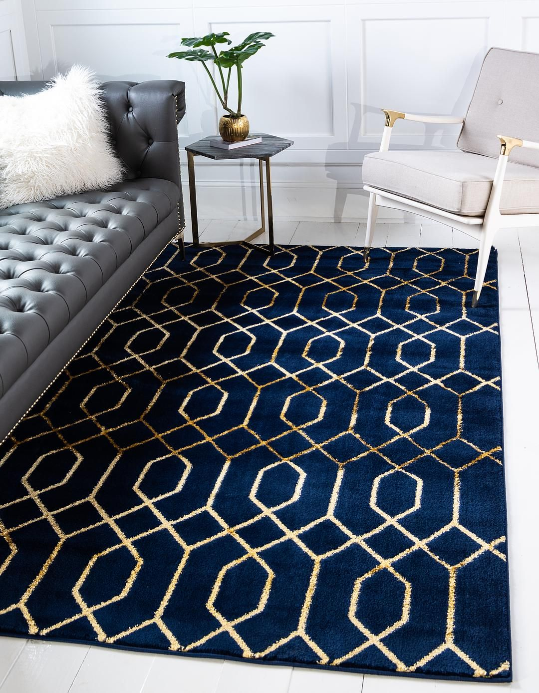 Navy Blue Gold 5 X 8 Marilyn Monroe Glam Trellis Rug Area