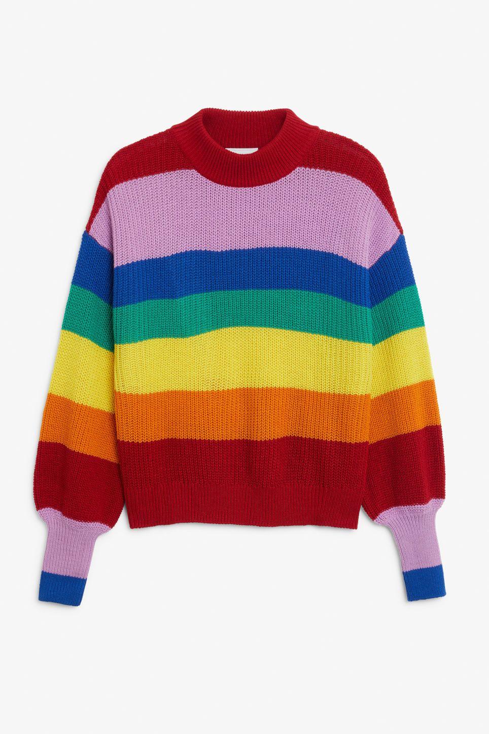 17065d9da8 Crew neck knit sweater - Rainbow stripes - Knitwear in 2019 | Lewks ...