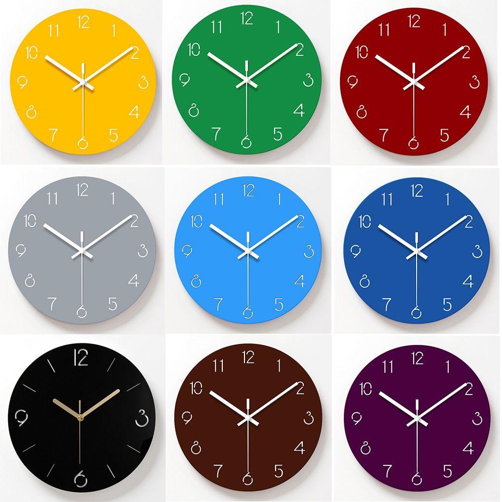 12 Inch Wall Clock Glass Acrylic Modern Home Decor Clock Silent Movement Non Ticking Blue Wall Clocks Wall Clock Glass Blue Wall Clocks Wall Clock Modern