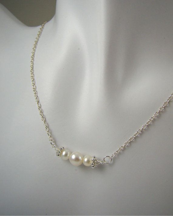 Bridesmaid Gifts Pearl Necklace Wedding by ShinyLittleBlessings, $28.00   DIY?