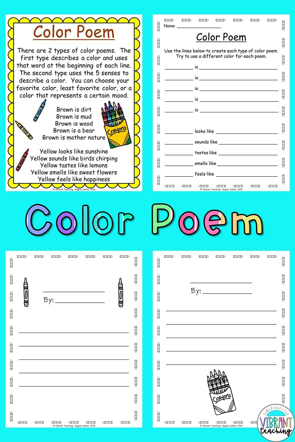 Color Poems For Kids In 2020 Color Poem Poem Activities Poetry For Kids