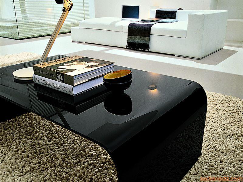 anemone 6850 - table basse rectangulaire en verre noir | déco