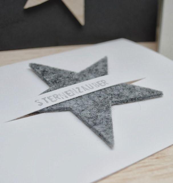 weihnachtskarte mit filzstern karten weihnachten. Black Bedroom Furniture Sets. Home Design Ideas