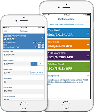 iPhones Displaying The MyQL Mobile App Mortgage