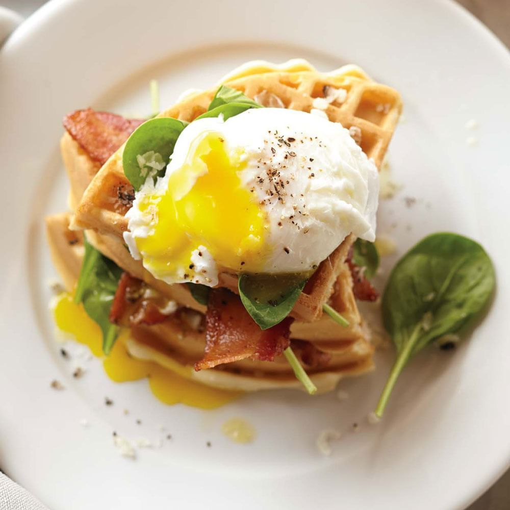 Waffles with Poached Eggs, Bacon and Spinach recipe | Williams-Sonoma #breakfast #brunch