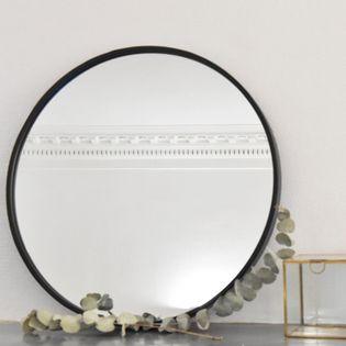 miroir rond en m tal noir mat 60 cm deco maison. Black Bedroom Furniture Sets. Home Design Ideas