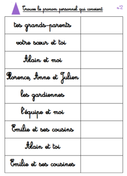 les boites de grammaire Montessori | Pronom personnel sujet, Pronom personnel, Exercice grammaire